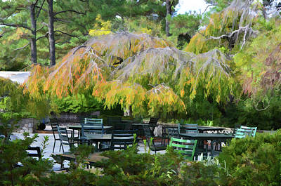 Culture Painting - Relaxing Ambiance Outdoor Space At The Norfolk Botanical Garden Cafe by Lanjee Chee