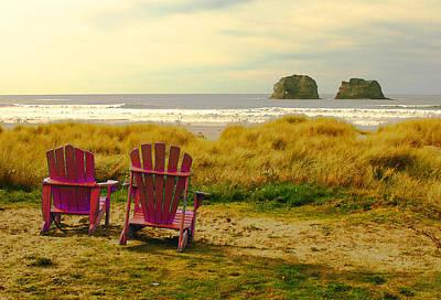 Relaxing At Rockaway Beach And Twin Rocks Print by Margaret Hood