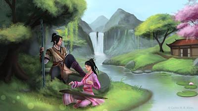 Gaming Painting - Relaxing In Jianghu by Carlos M R Alves