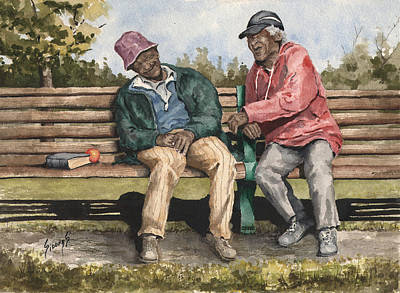 Park Benches Painting - Remembering The Good Times by Sam Sidders