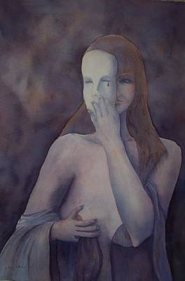 Self Discovery Painting - Removing The Mask by Ellen Keagy