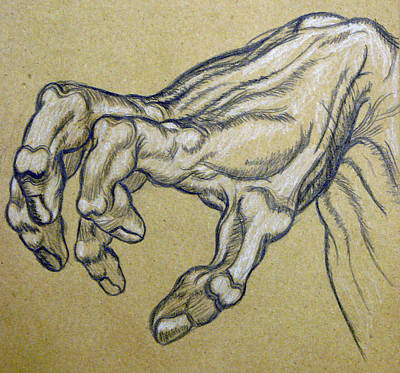 Cardboard Drawing - Renaissance Hand by Bear Welch