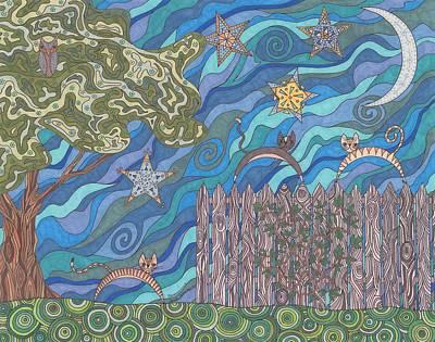 Moonlit Night Drawing - Rendezvous by Pamela Schiermeyer