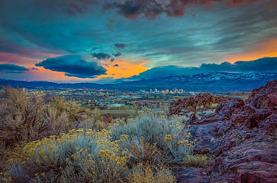 Reno Winter Storm Sunset Print by Scott McGuire