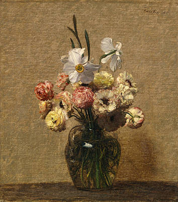 Henri Fantin-latour Painting - Renoncules Et Narcisses by Henri Fantin-Latour