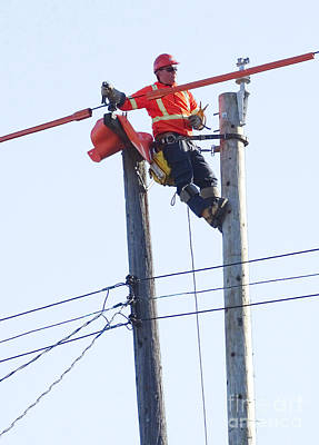 Telephone Poles Photograph - Replacing A Telephone Pole by Scimat