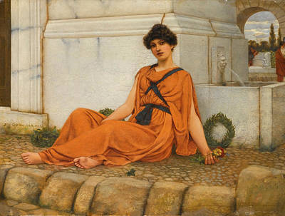 John William Godward Painting - Repose. The Flower Girl by John William Godward
