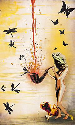 Reptilian Feminality Distorts The Primate Regime Print by Tai Taeoalii