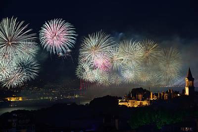 Republic Day Fireworks On The Bosphorus And Night Lights On Topk Print by Reimar Gaertner