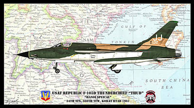 Digital Art - Republic F-105d Hanoi Special by Tommy Anderson