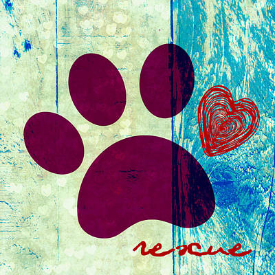 Must Art Mixed Media - Rescue Paw 2 by Brandi Fitzgerald