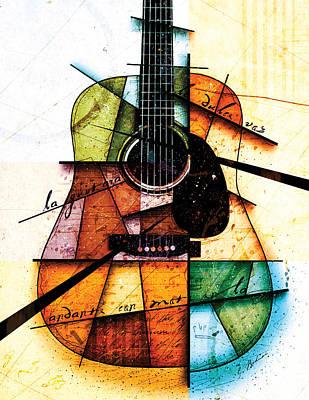 Acoustic Guitar Digital Art - Resonancia En Colores by Gary Bodnar