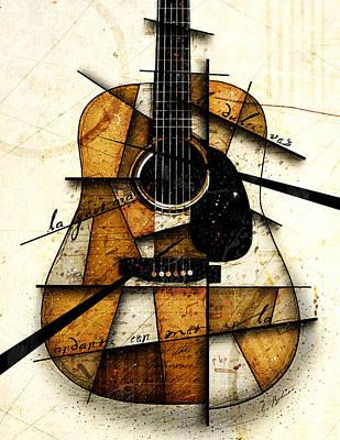 Acoustic Guitar Digital Art - Resonancia En Marron by Gary Bodnar
