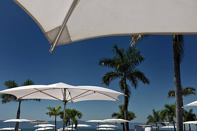 Mountain Photograph - Resort Pool Umbrellas Nuevo Vallarta Mexico With Sierra Madre Mo by Reimar Gaertner