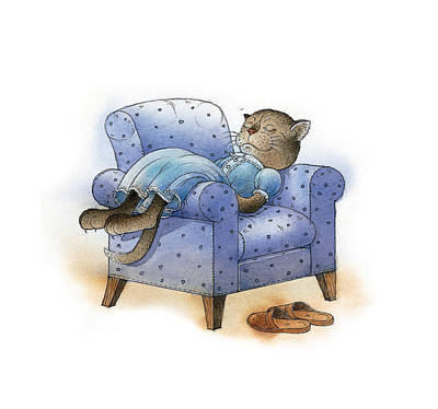 Comfort Drawing - Rest After Breakfast by Kestutis Kasparavicius