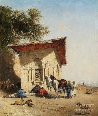 Orientalist Painting - Rest By The Oasis by Celestial Images