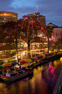 Restaurant Along A River Lit Print by Panoramic Images