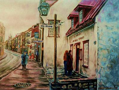Montreal Street Life Painting - Restaurant Aux Anciens Canadiens Quebec City by Carole Spandau