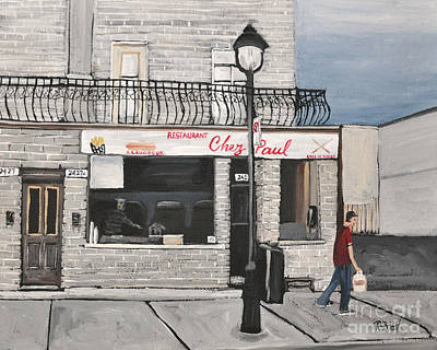Local Restaurants Painting - Restaurant Chez Paul Pointe St. Charles by Reb Frost