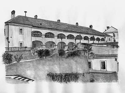 Wash Drawing - Restaurant From The Petrovaradin Fortress by Dragoslav Cupic