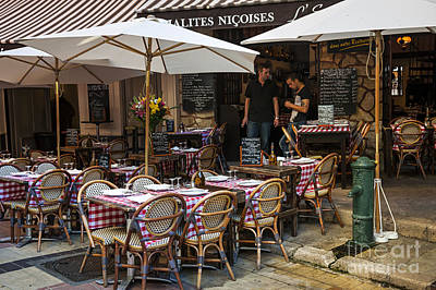 European Cafe Photograph - Restaurant On Rue Pairoliere In Nice by Elena Elisseeva