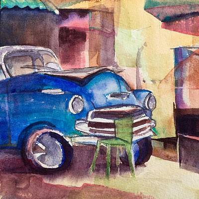 Resting Chevy With Green Chair Print by Lynne Bolwell
