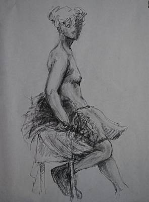 Male Nude Drawing Drawing - Resting Dancer by Chris  Riley