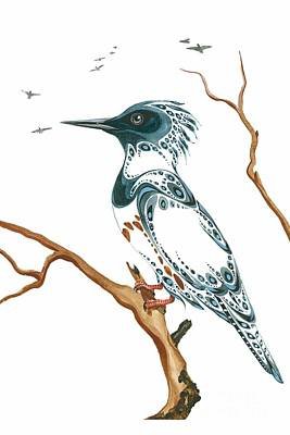 Kingfisher Mixed Media - Resting Kingfisher by Blackwater Studio