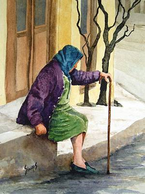 Old Woman Painting - Resting by Sam Sidders
