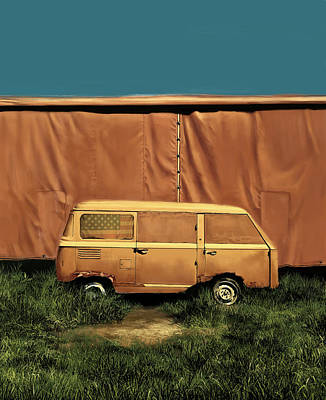 Usa Flag Painting - Resting Van by Bekim Art