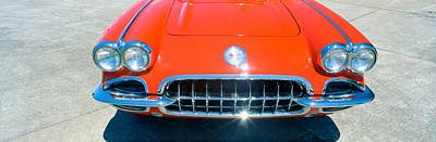 Nineteen-fifties Photograph - Restored Red 1959 Corvette, Front by Panoramic Images