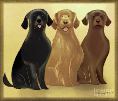 Chocolate Labrador Digital Art - Retrievers by Tracy Herrmann