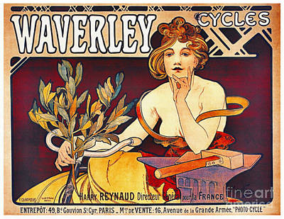 Loose Hair Photograph - Retro Bicycle Ad 1899 by Padre Art