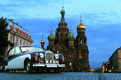 A Summer Evening Photograph - Retro Car Bentley On The Background Of The Architectural Dominants Of The City Centre Of Saint Peter by George Westermak
