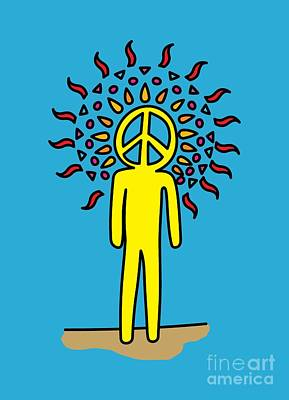 Retro Design Hippy Design 60s And 70s Peace Be In You Print by Paul Telling