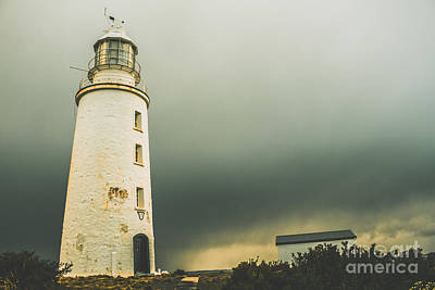 Grey Clouds Photograph - Retro Filtered Lighthouse by Jorgo Photography - Wall Art Gallery