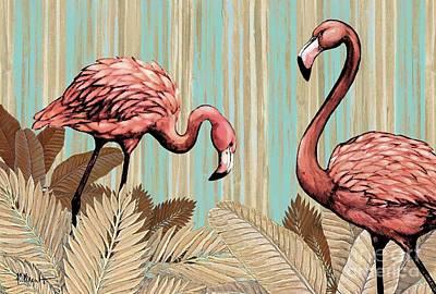 Retro Flamingo Print by Paul Brent