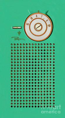 Retro Geek Gumby Green Transistor Radio Design Print by Tina Lavoie