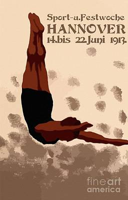 Retro Hannover Germany Sports Diving Neue Sachlichkeit Print by Aapshop