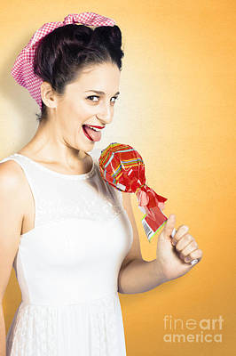 Retro Housewife Craving Sweet Candy Print by Jorgo Photography - Wall Art Gallery