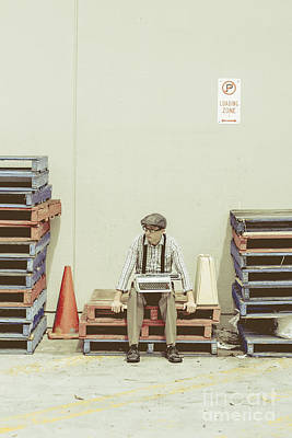 Pallet Photograph - Retro Man Dreaming Up Literary Ideas by Jorgo Photography - Wall Art Gallery