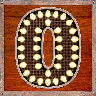 Patina Digital Art - Retro Marquee Lighted Letter O by Mark E Tisdale