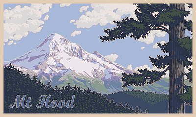 Retro Mount Hood Print by Mitch Frey