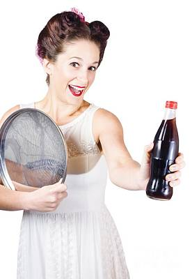 Retro Pin-up Girl Giving Bottle Of Soft Drink Print by Jorgo Photography - Wall Art Gallery