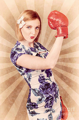 Boxing Gloves Photograph - Retro Pinup Boxing Girl Fist Pumping Glove Hand  by Jorgo Photography - Wall Art Gallery