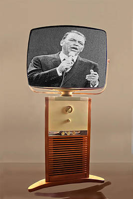 1950s Singer Digital Art - Retro Sinatra On Tv by Matthew Bamberg