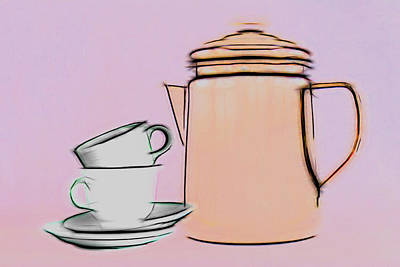 Coffee Photograph - Retro Style Coffee Illustration by Tom Mc Nemar