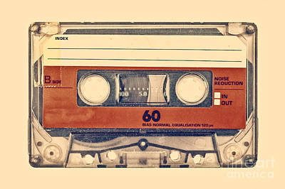 Retro Styled Image Of An Old Compact Cassette Print by Martin Bergsma