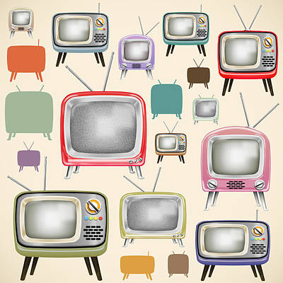 Buttons Painting - retro TV pattern  by Setsiri Silapasuwanchai