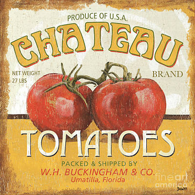 Tomato Painting - Retro Veggie Labels 4 by Debbie DeWitt